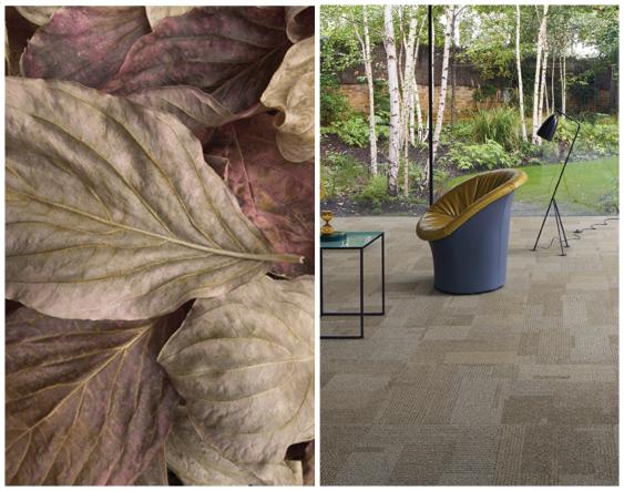 afb tapijttagels als herfstbladeren in het bos, aangepast formaat